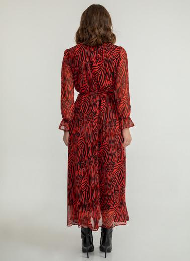 Foremia Zebra Desen Anvelop Şifon Elbise Kırmızı